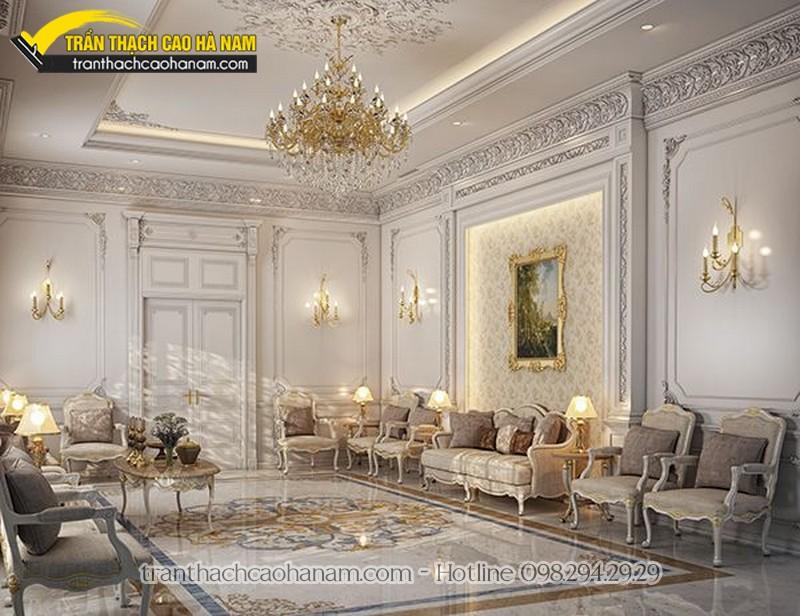 Mẫu trần thạch cao tân cổ điển phù hợp với biệt thự, phòng khách rộng